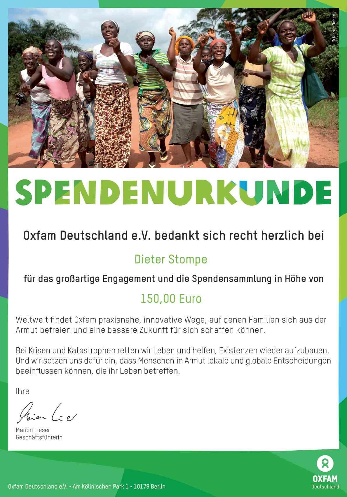 Oxfam Spendenquittung